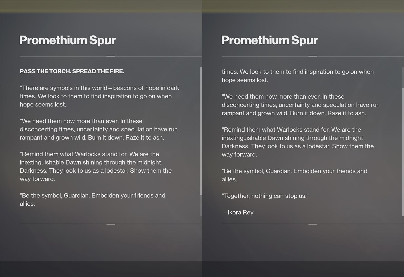 promethium spur lore destiny 2