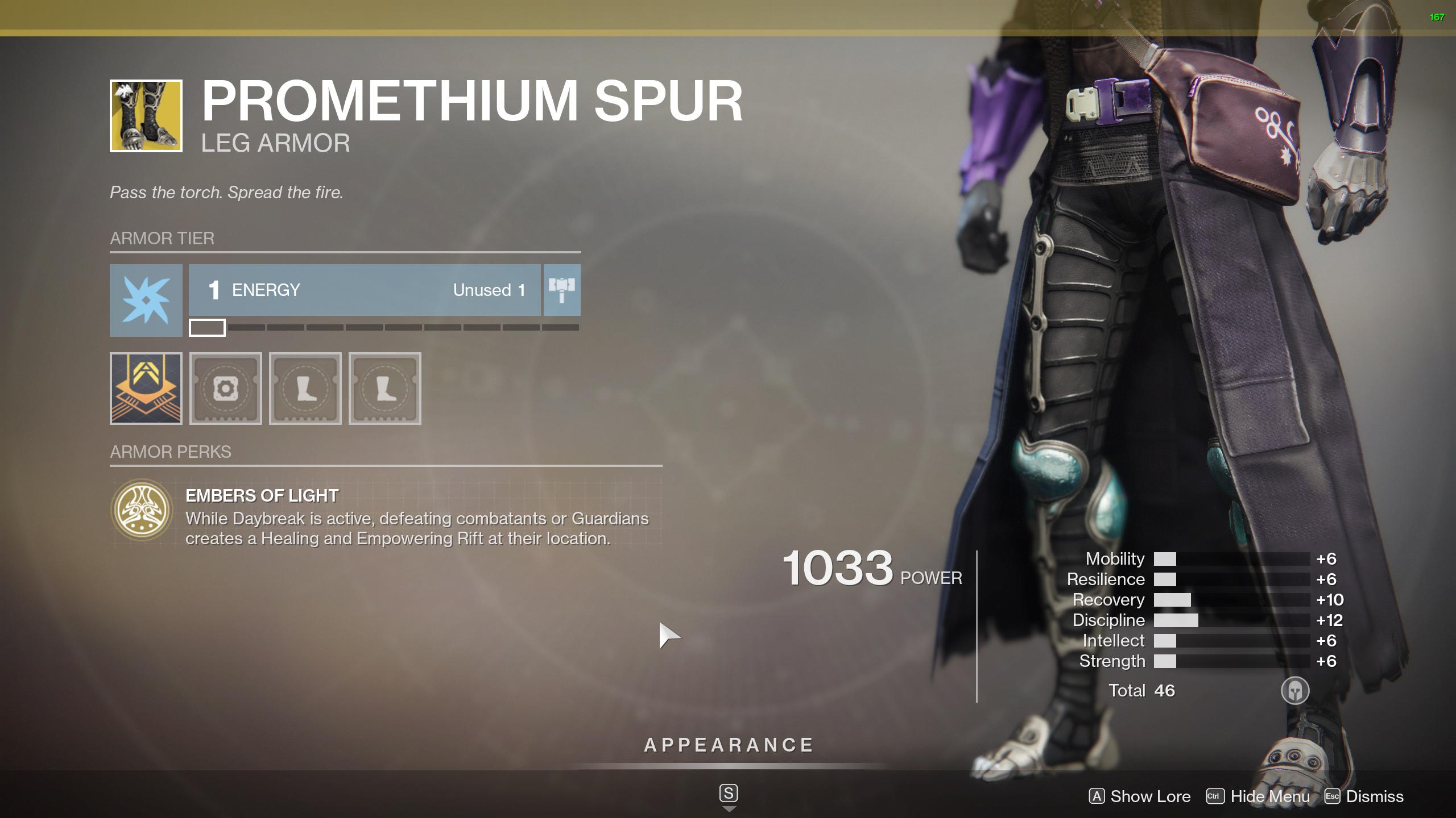 Promethium Spur perk Destiny 2