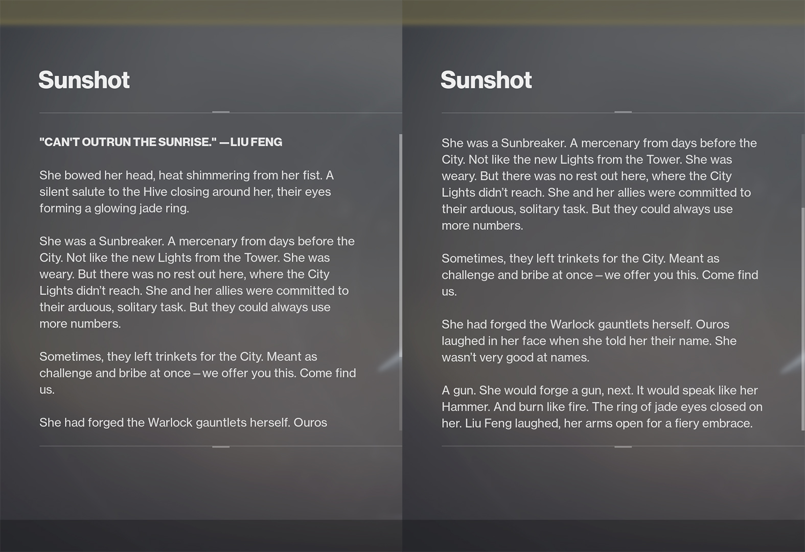 sunshot lore destiny 2