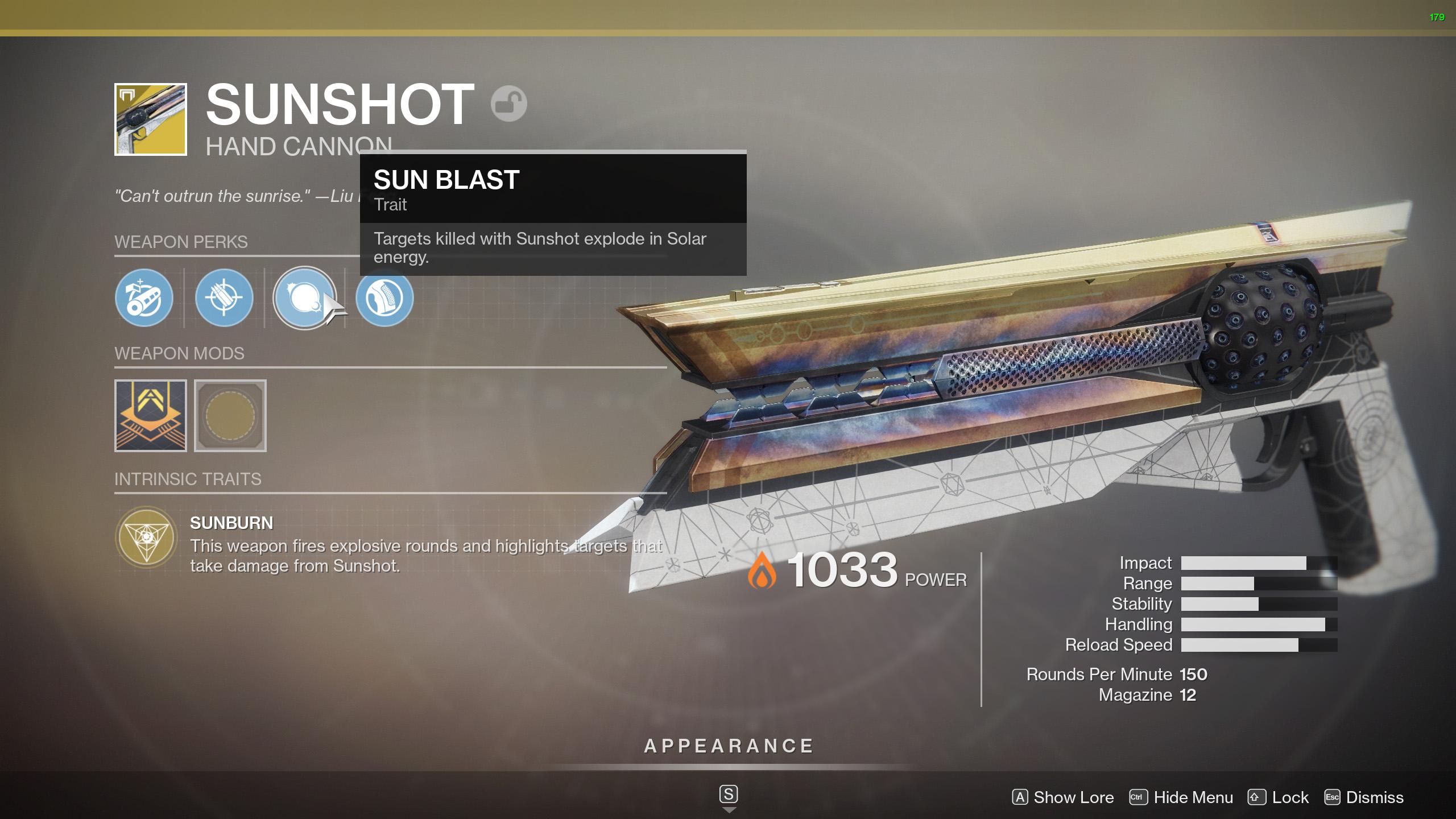 sunshot perks destiny 2