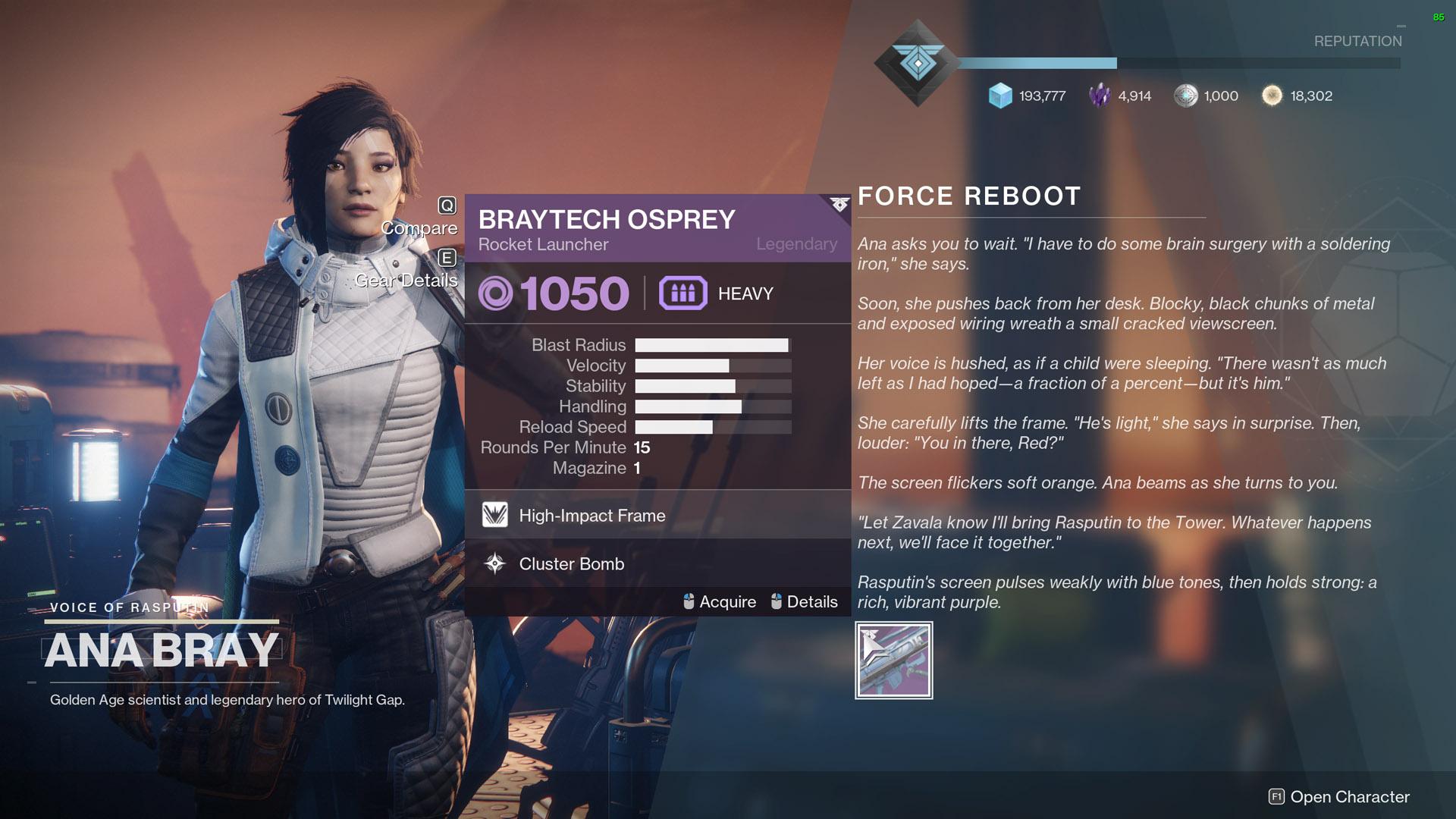 Destiny 2 Exodus Evacuation Braytech Osprey