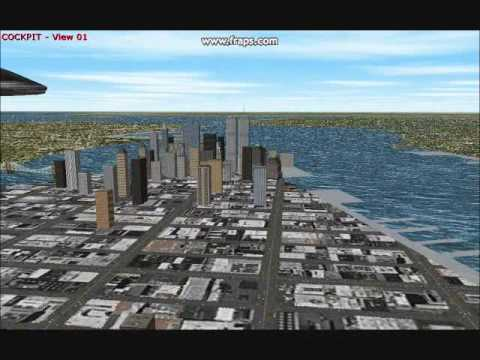 The Twin Towers in Microsoft Flight Simulator 2000.
