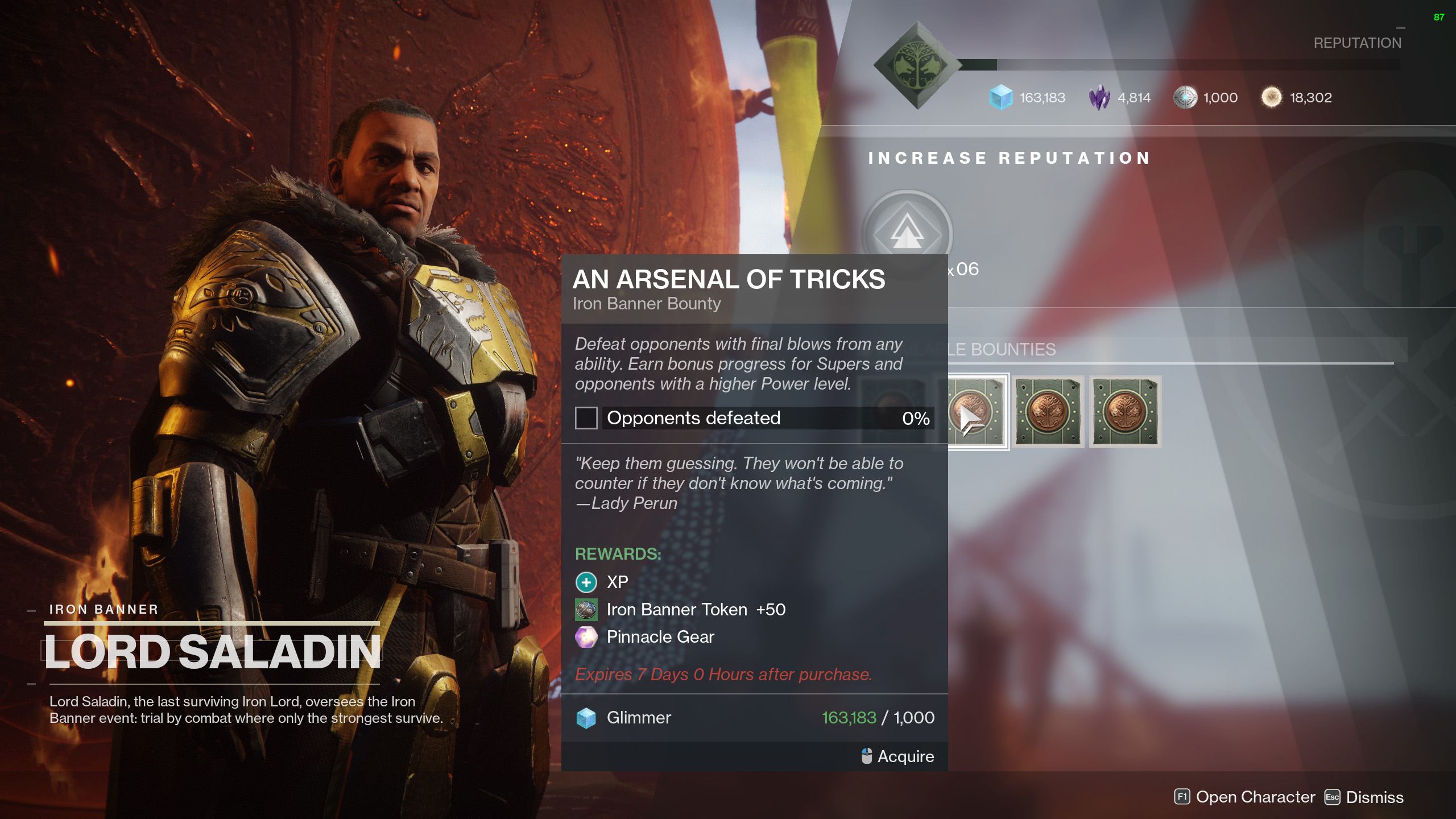 An Arsenal of Tricks Iron Banner Destiny 2