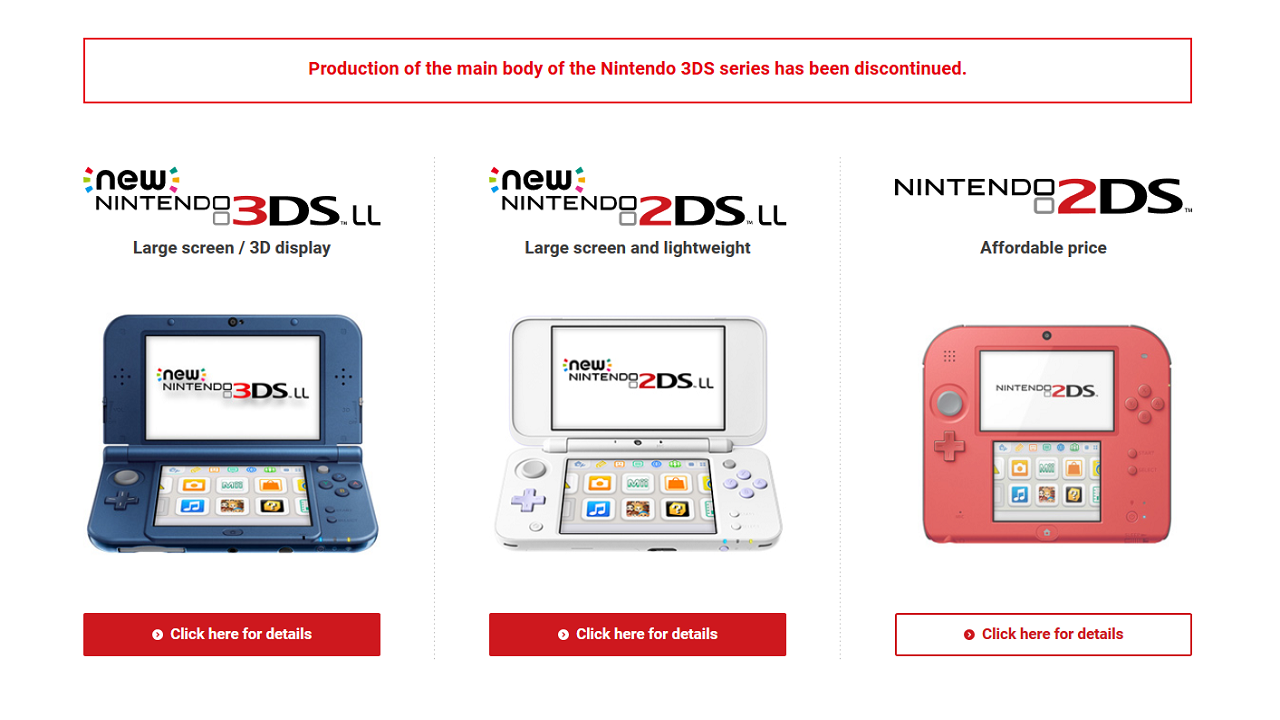 With discontinuation of the 3DS, it seems it's finally the end of the line for the popular Nintendo DS line.