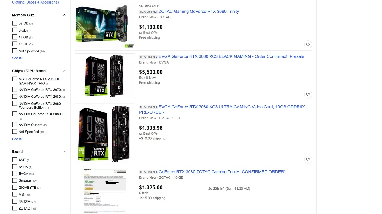 Even a cursory glance at RTX 3080s on eBay shows an absurd range of price, ranging from a few hundred extra over retail up to more than $5,000 in asking prices.