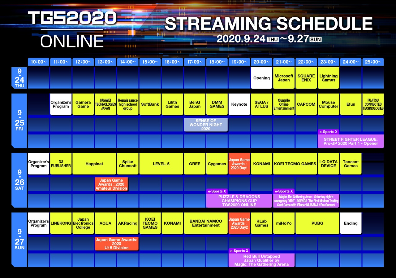From September 24 to  27, the streaming schedule for Tokyo Game Show 2020 Online schedule is packed with a solid list of publishers and developers. Take note, these times are Japan Standard Time.