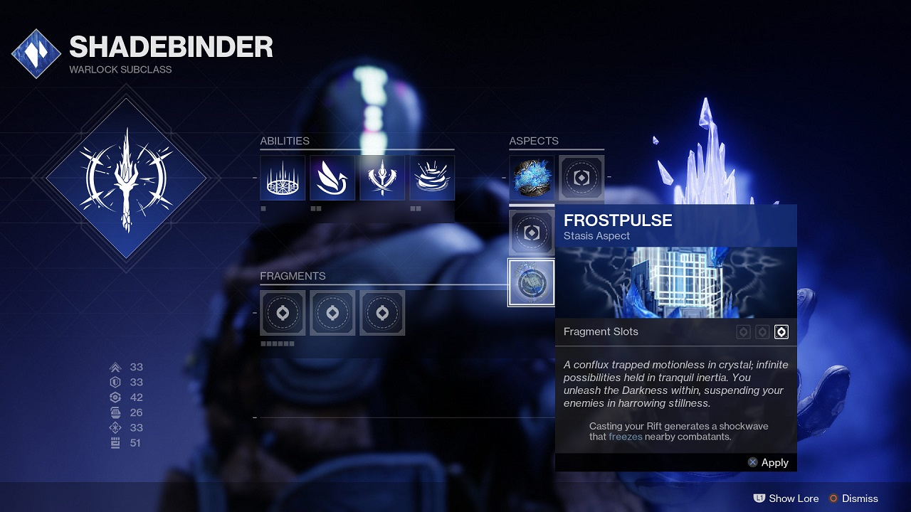 In addition to weapons and gear, Destiny 2: Beyond Light will feature Aspects and Fragments equippable to subclasses like the Shadebinder to further customize your playstyle.