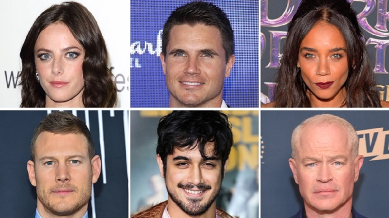 (Top left to right) Kaya Scodelario, Robbie Amell, Hannah John-Kamen (Bottom L-R) Tom Hopper, Avan Jogia and Neal McDonough round out the main cast of the Resident Evil film coming from Constantin Film.