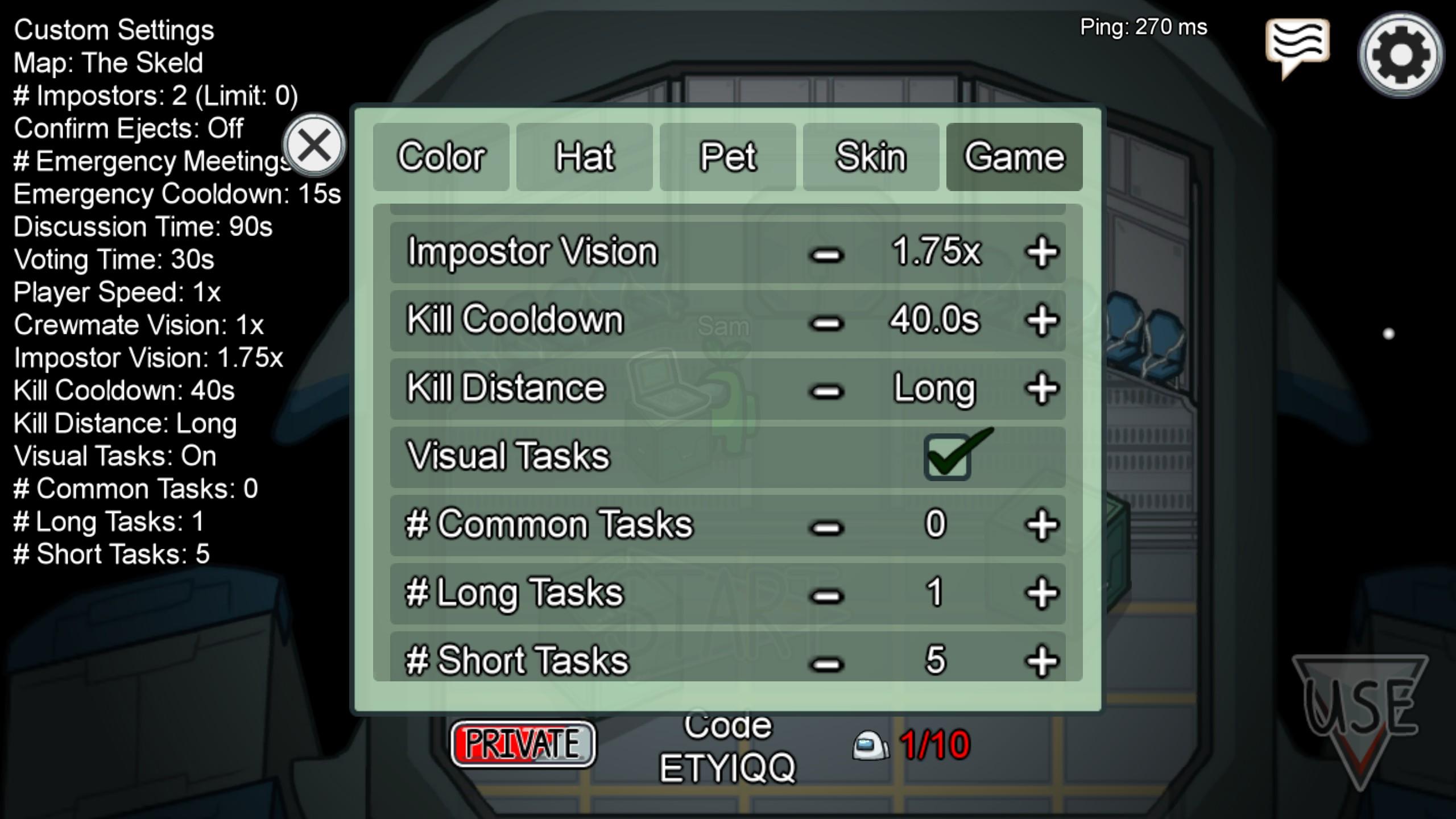 among us game lobby settings