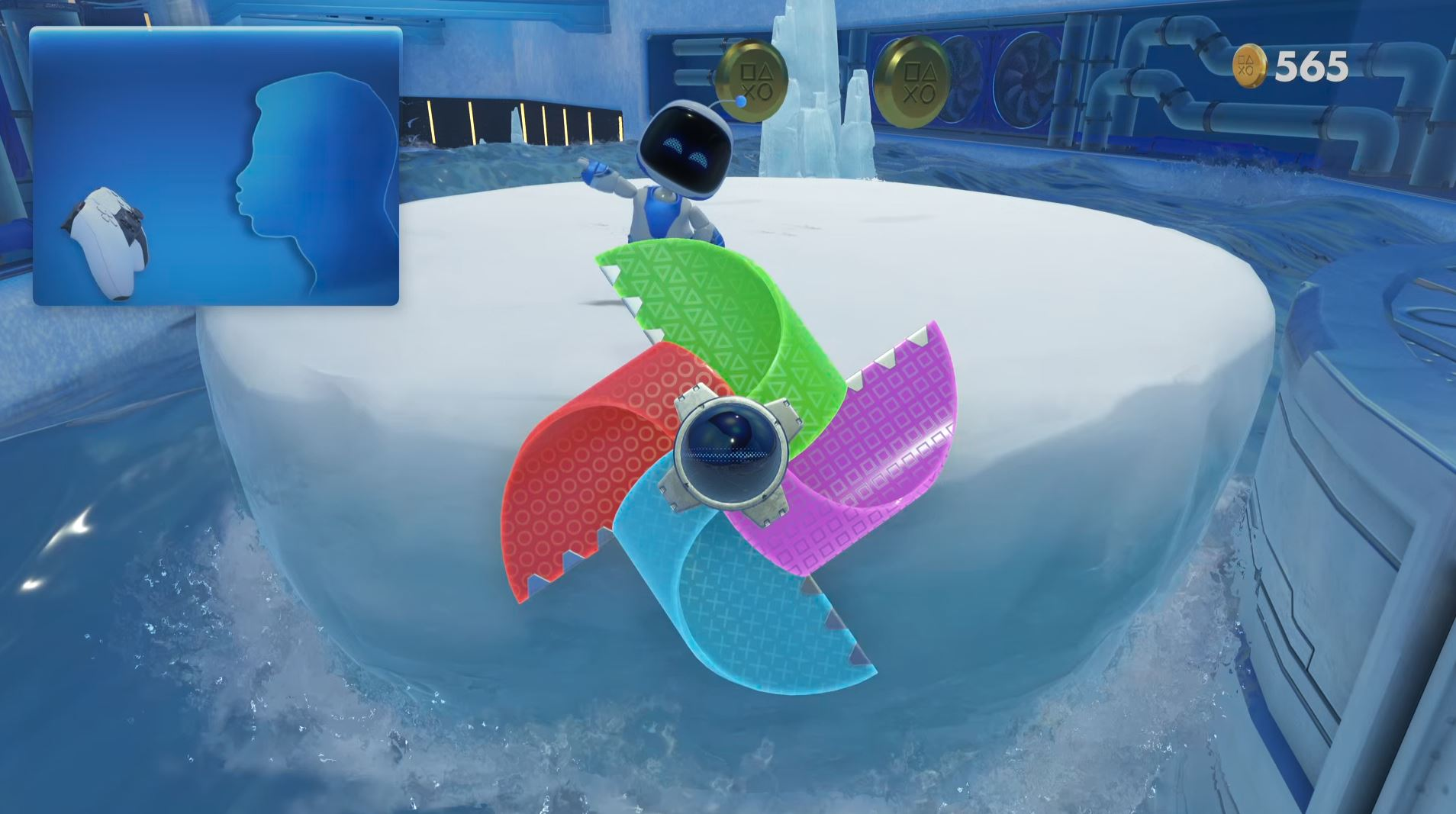 Players must blow on the DualSense gamepad to make the pinwheel spin.