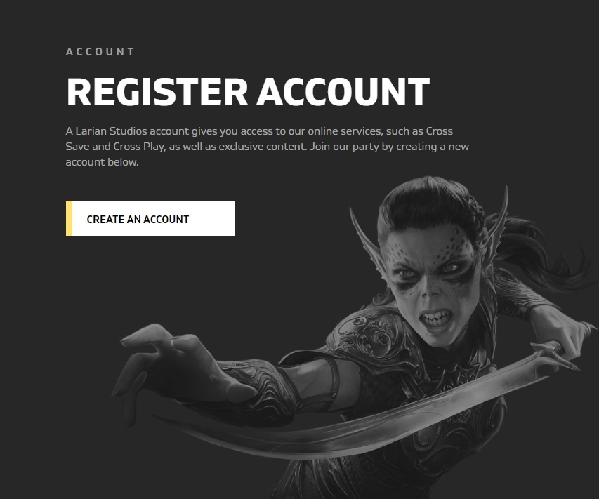 Larian's site now offers the option to register for your Larian Account for access to cross-save and cross-play support across all platforms.
