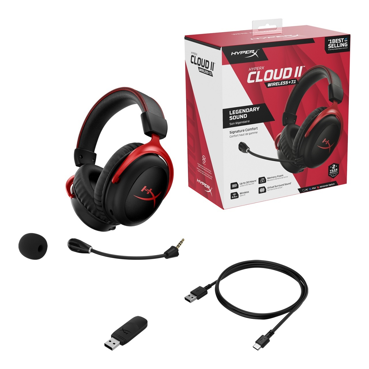 The full contents of the HyperX Cloud 2 Wireless gaming headset can be seen above, featuring a detachable mic and removable boom filter, USB transmitter, and USB-to-mini-USB charge and connection cable.