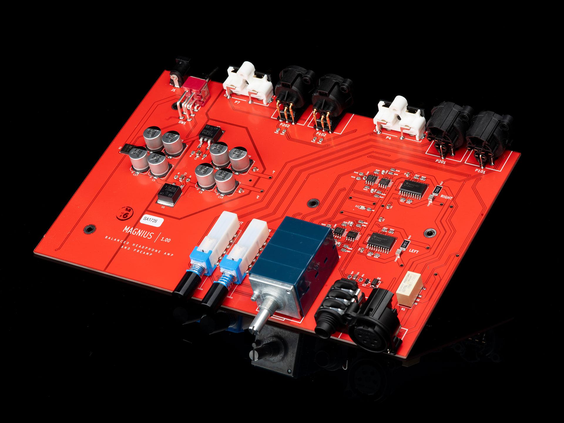 Close-up of the Magnius PCB.