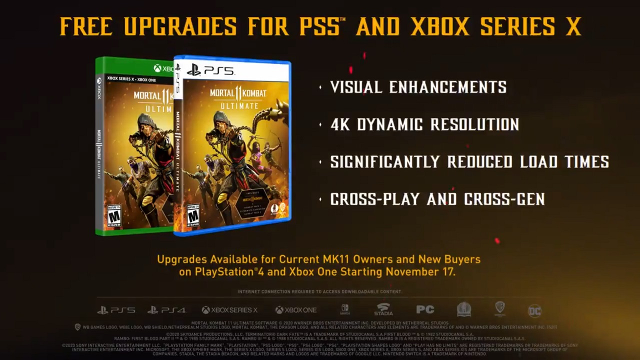 The details of the cross-gen upgrade of Mortal Kombat 11 to PS5 and Xbox Series X can be seen above. It will launch same day as Kombat Pack 2.