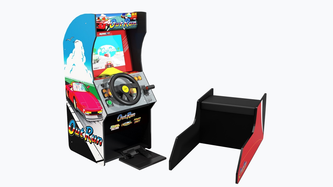 The Arcade1Up OutRun cabinet features a faithful control scheme, removable bench, and four driving games including the Sega classic.