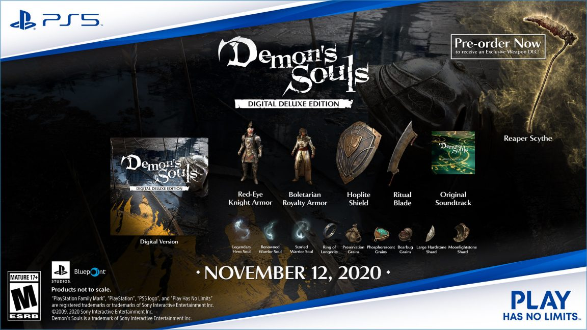 All the bonus items included with pre-orders of Demon's Souls.