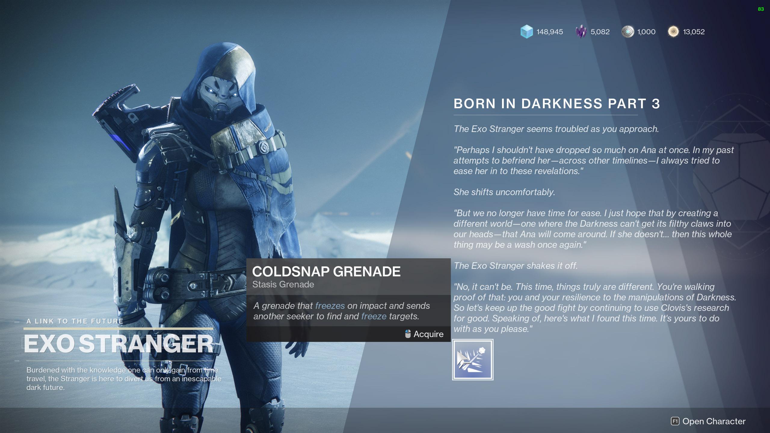 destiny 2 born in darkness coldsnap grenade