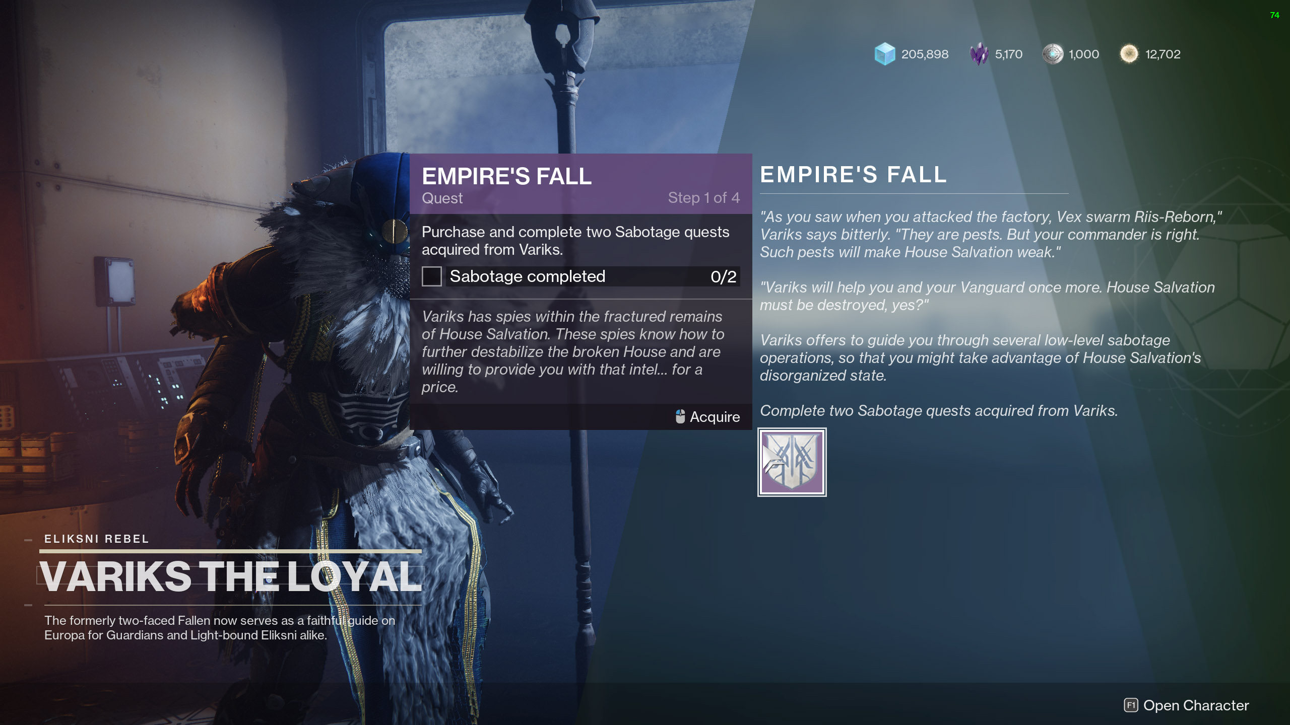 destiny 2 empires fall sabotage quests