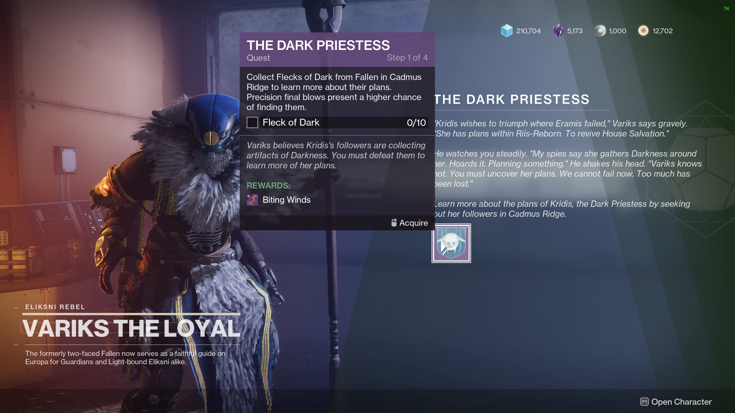destiny 2 the dark priestess fleck of dark