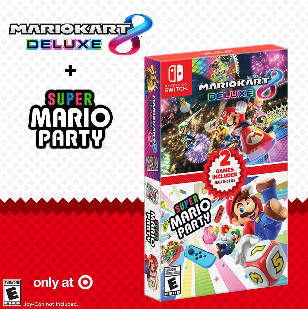 You'd be hard pressed to find Mario Kart 8 Deluxe and Super Mario Party at a better press, together or separate, than in the double pack Target is offering for Cyber Monday.