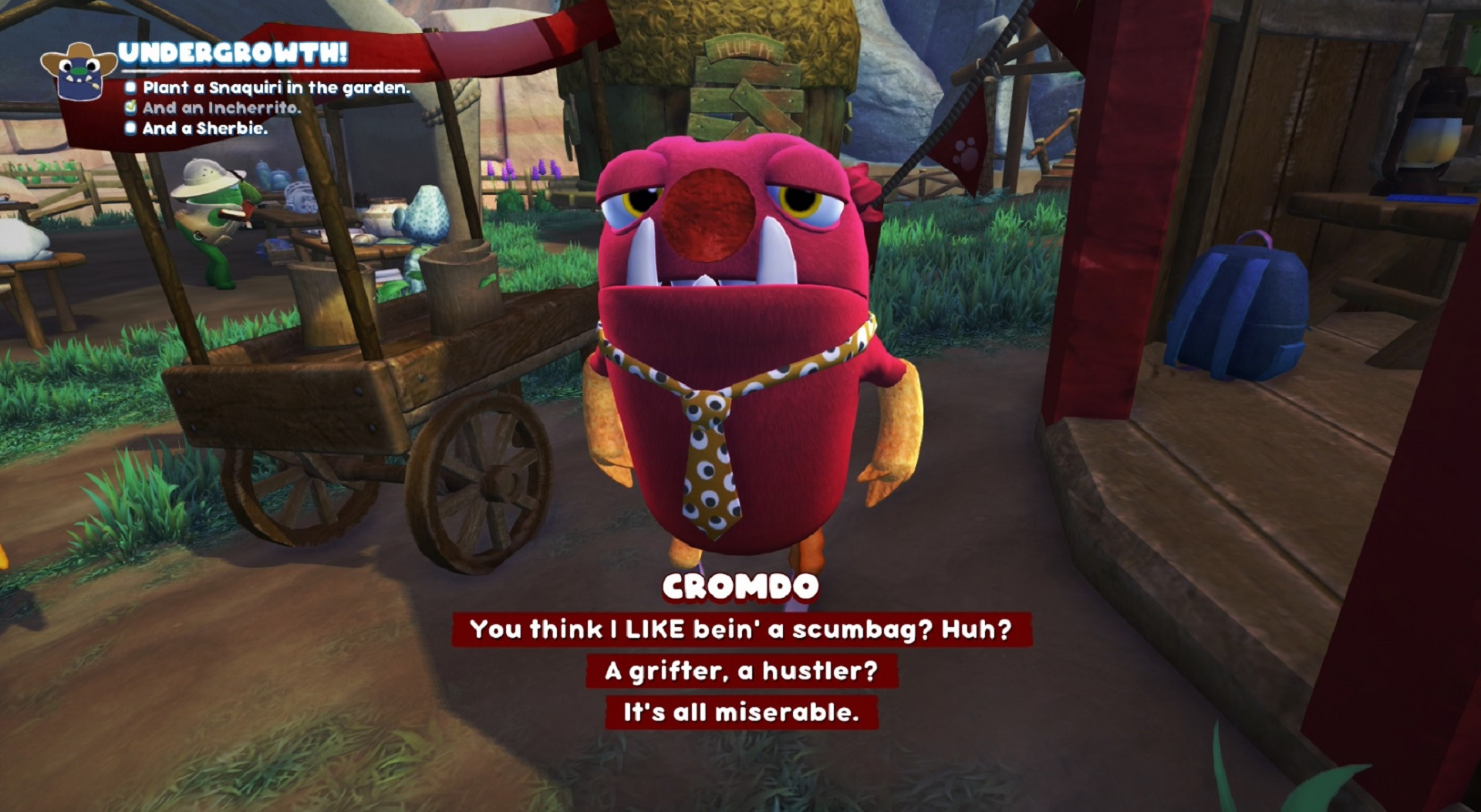 There are some deep conversations had with Grumpuses throughout the game.