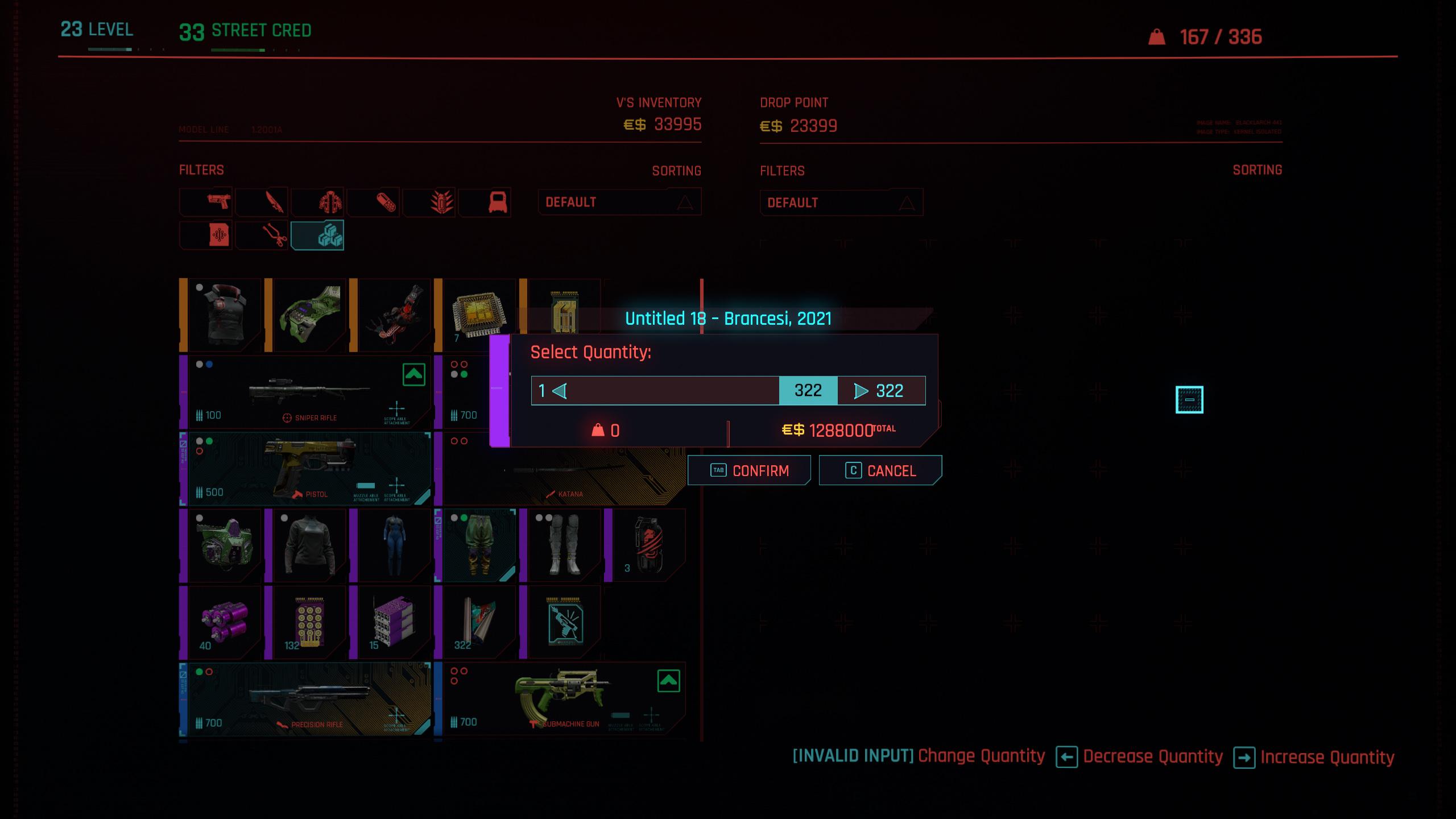 cyberpunk 2077 money glitch - selling duplicate items