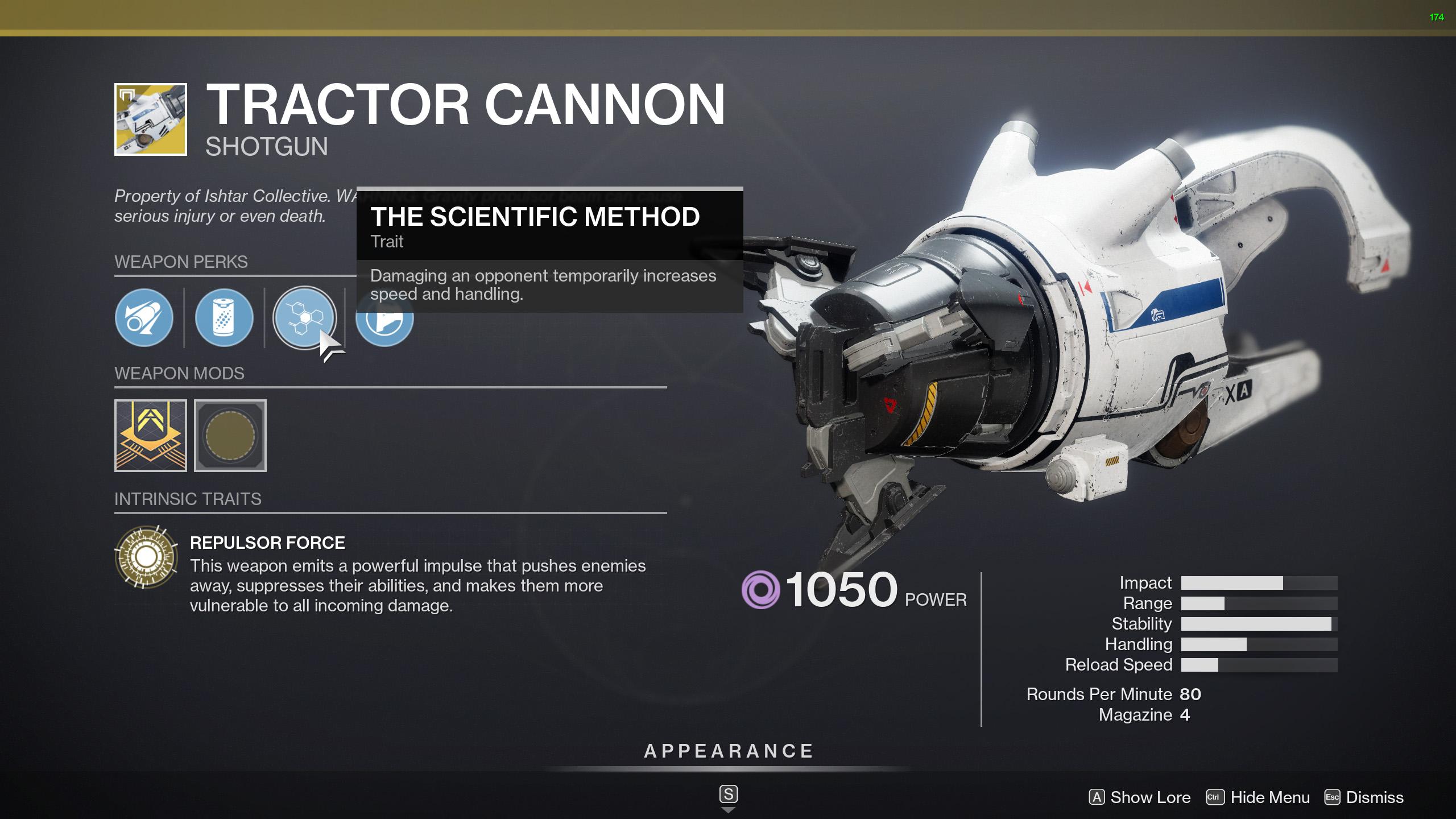 destiny 2 tractor cannon perks