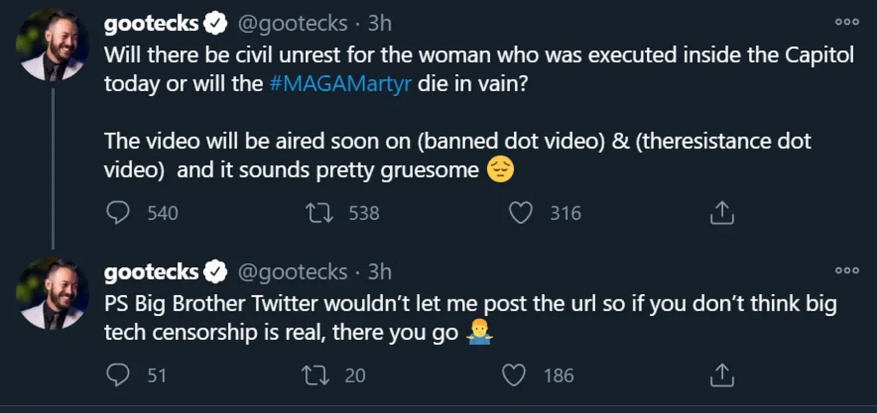 While Gootecks' tweets don't directly mention violence, the call for