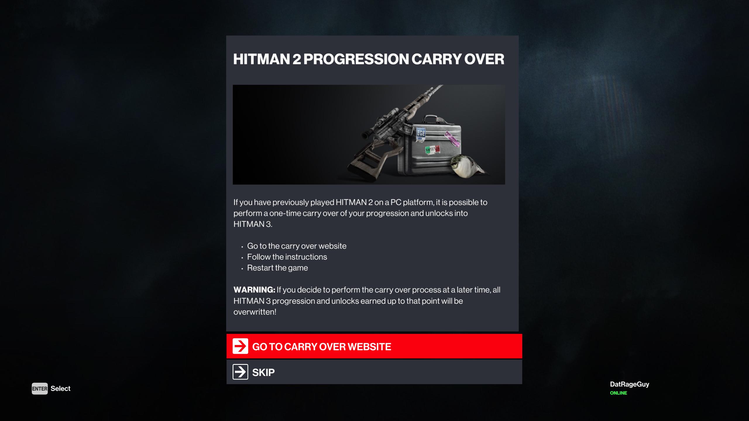 how to transfer hitman 2 progression to hitman 3
