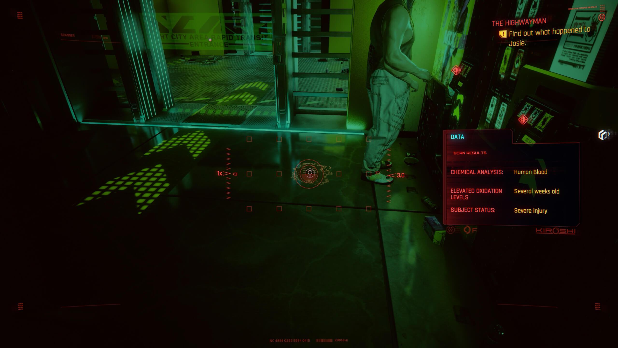 Blood trail - The Highwayman - Cyberpunk 2077