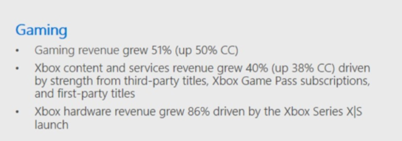 This pull from the slideshow related to Microsoft's FY21 Q2 report shows the major ends of Xbox's gaming pursuits mostly performing well year-over-year.