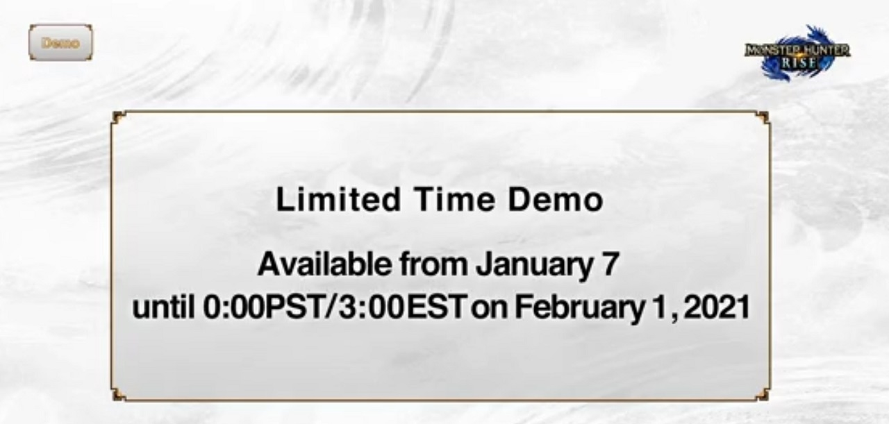 The above is the official timeline of when and how long the Monster Hunter Rise Nintendo Switch free demo will be available.