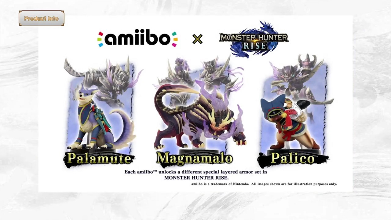 With use of the Palico, Palamute, or Magnamalo Amiibo, you can unlock in-game layered armor styles in Monster Hunter Rise.