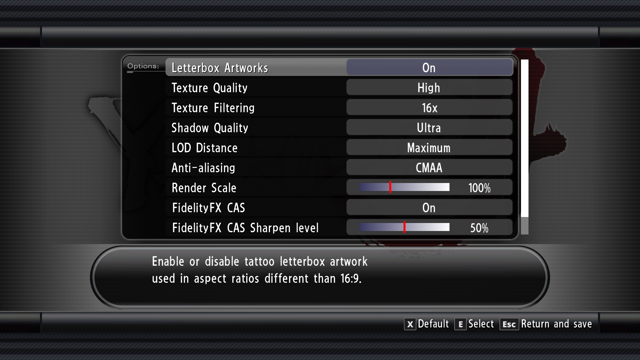 The advanced graphical options menu from Yakuza 4.