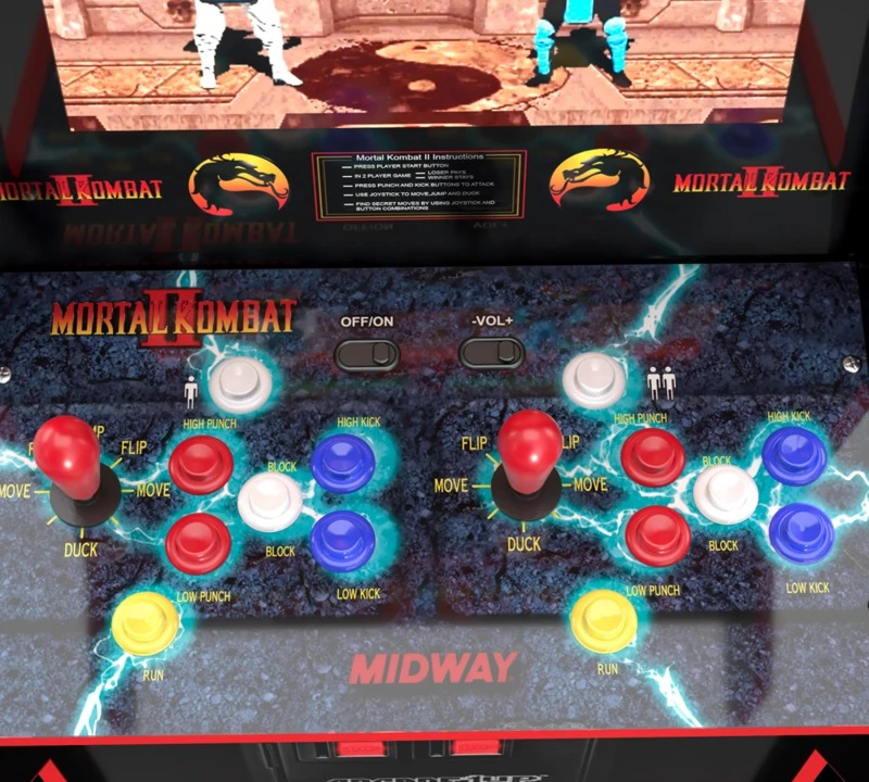From panel and marquee art to control deck, the Midway Legacy Edition arcade drips with vintage Mortal Kombat 2 arcade style.