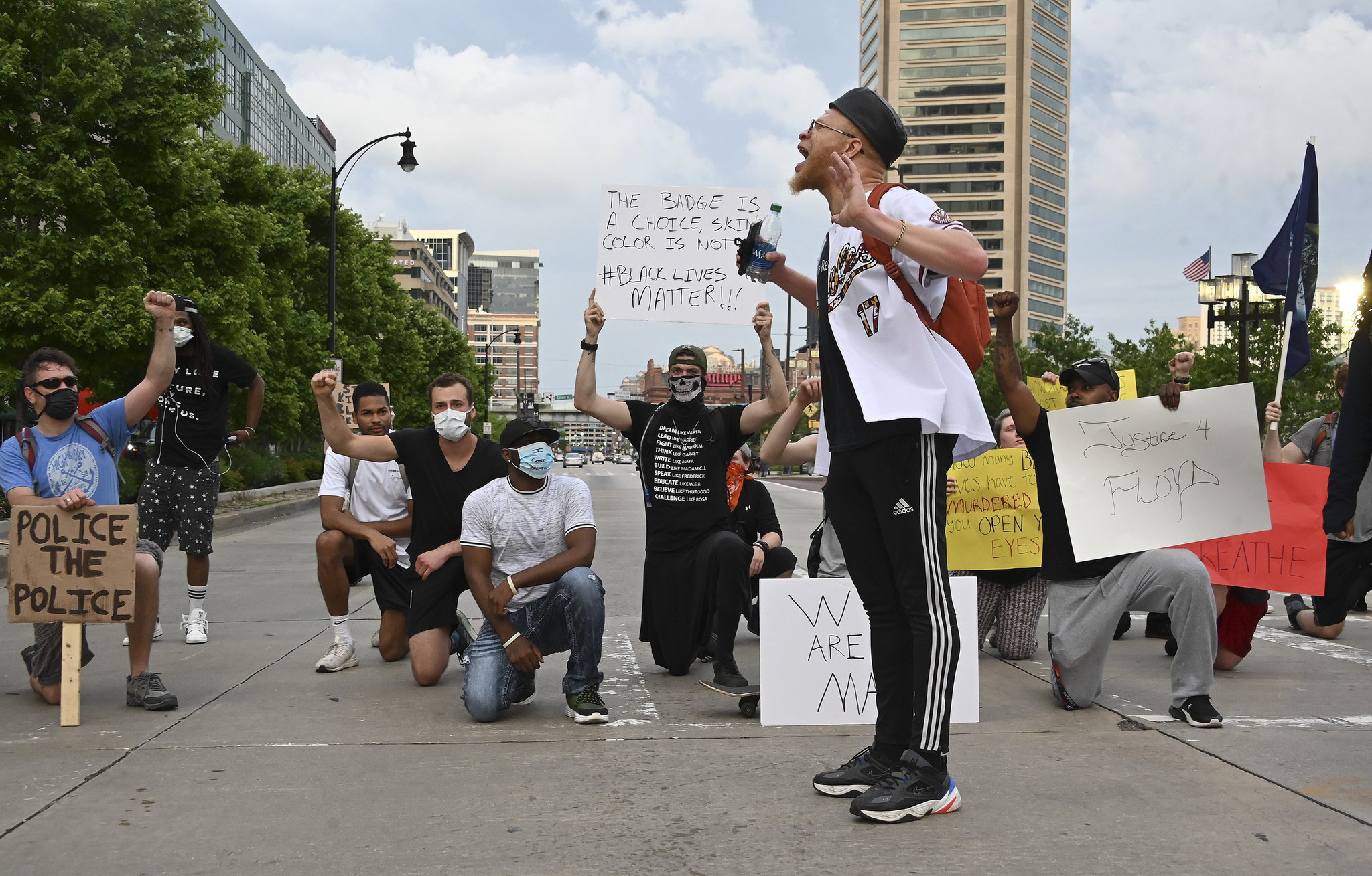 Black Lives Matter protestors in Baltimore Maryland following the death of George Floyd. Credit: The Baltimore Sun.