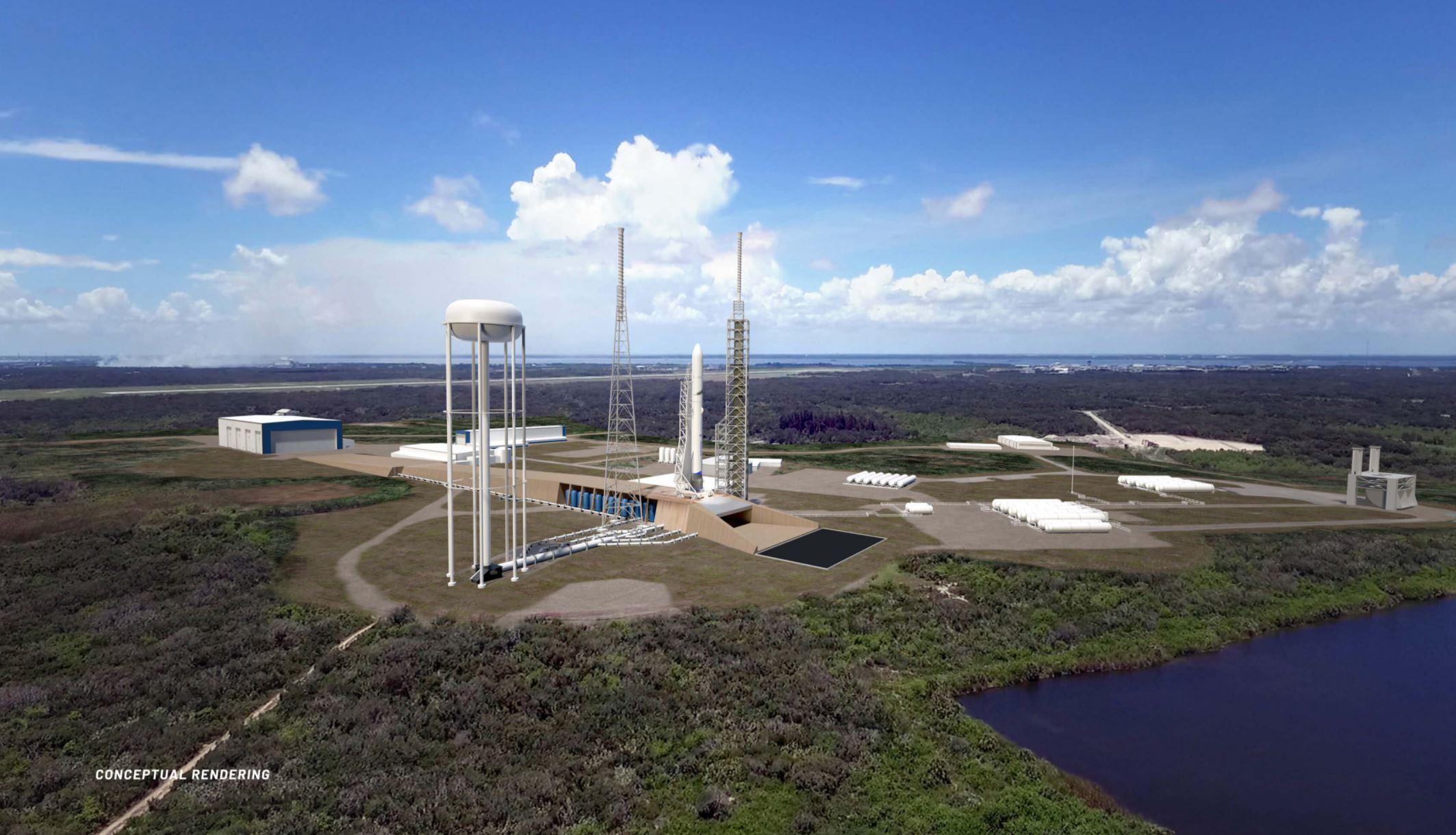 Conceptual rendering of Blue Origin's Cape Canaveral launch facilities.