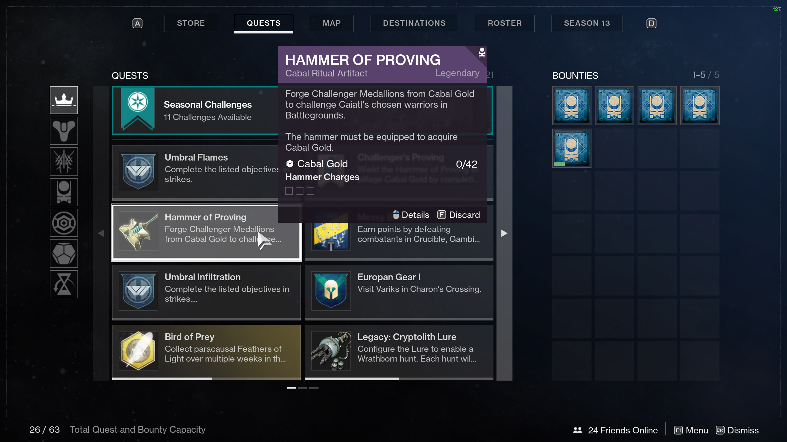 destiny 2 equip hammer of proving