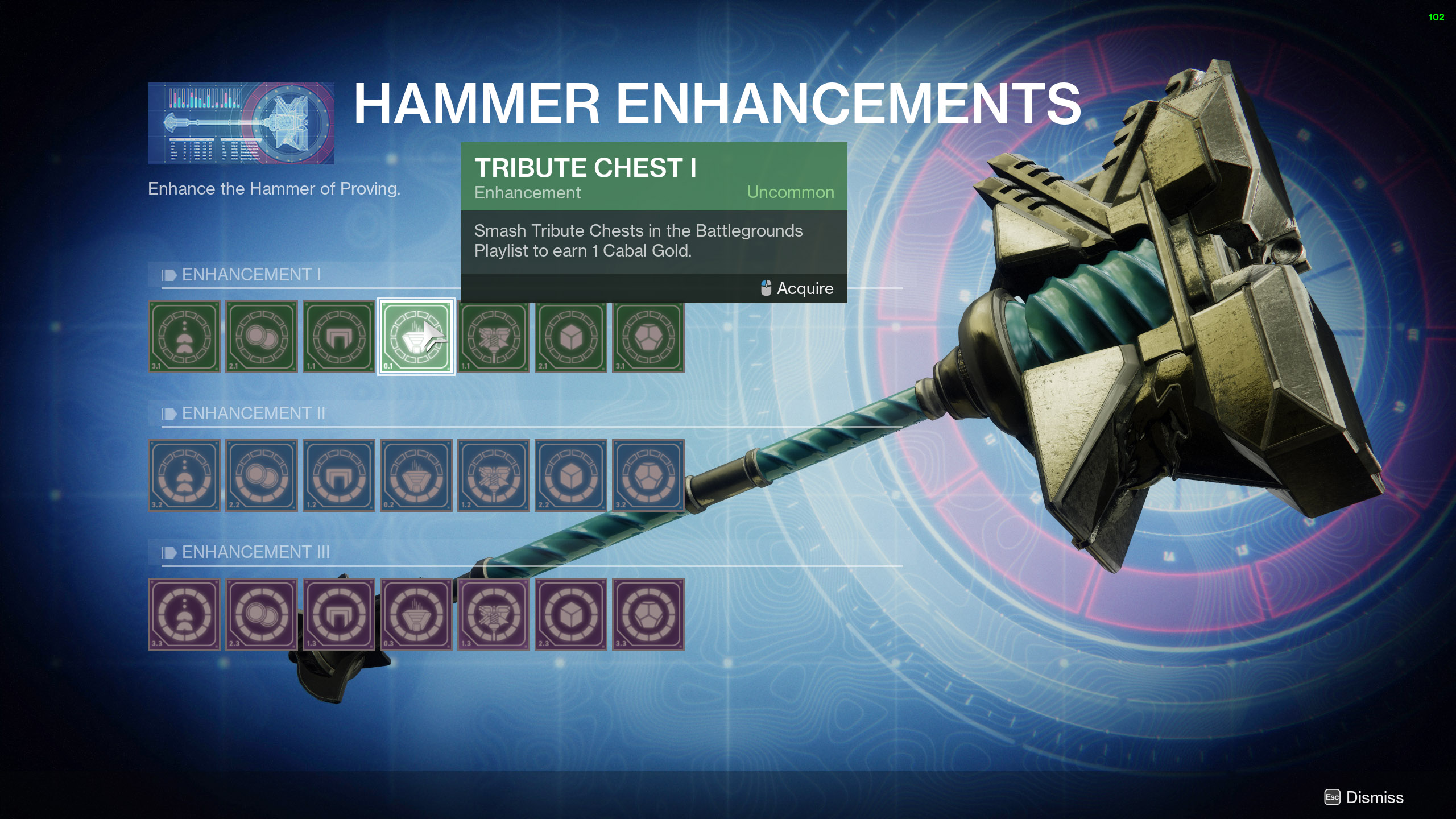 destiny 2 hammer of proving war table upgrade