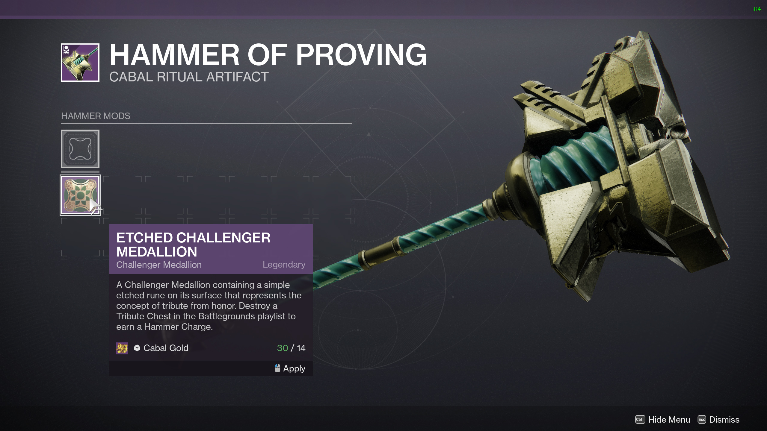 destiny 2 season of the chosen slot in a medallion
