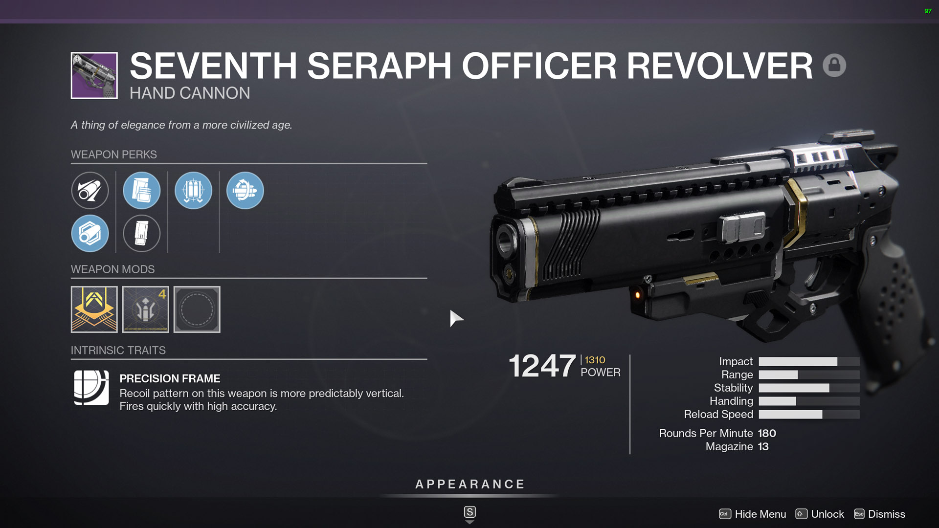 destiny 2 seventh seraph officer revolver hand cannon