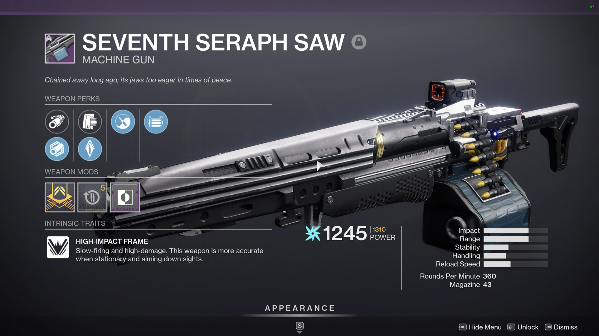 destiny 2 seventh seraph saw machine gun