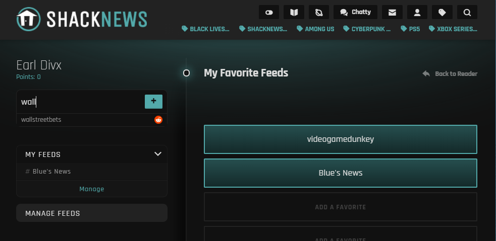 My Favorites on Shacknews Reader provide users easy access to their favorite feeds.