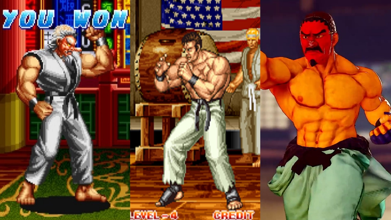 Left is Takuma's Art of Fighting Mr. Karate appearance, middle is his Art of Fighting 2 appearance, and right is Dan Hibiki's Street Fighter 5 battle costume, which kind of looks like it blends the two.