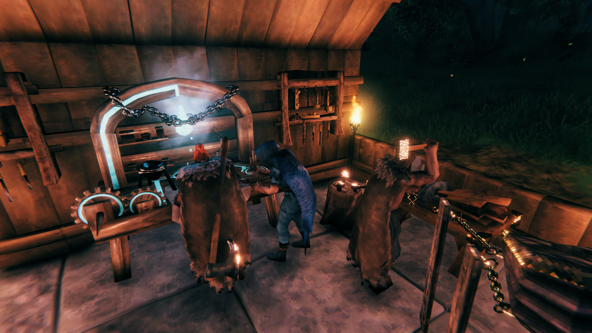 A player crafts an item at a workbench in Valheim - Valheim console commands and cheats