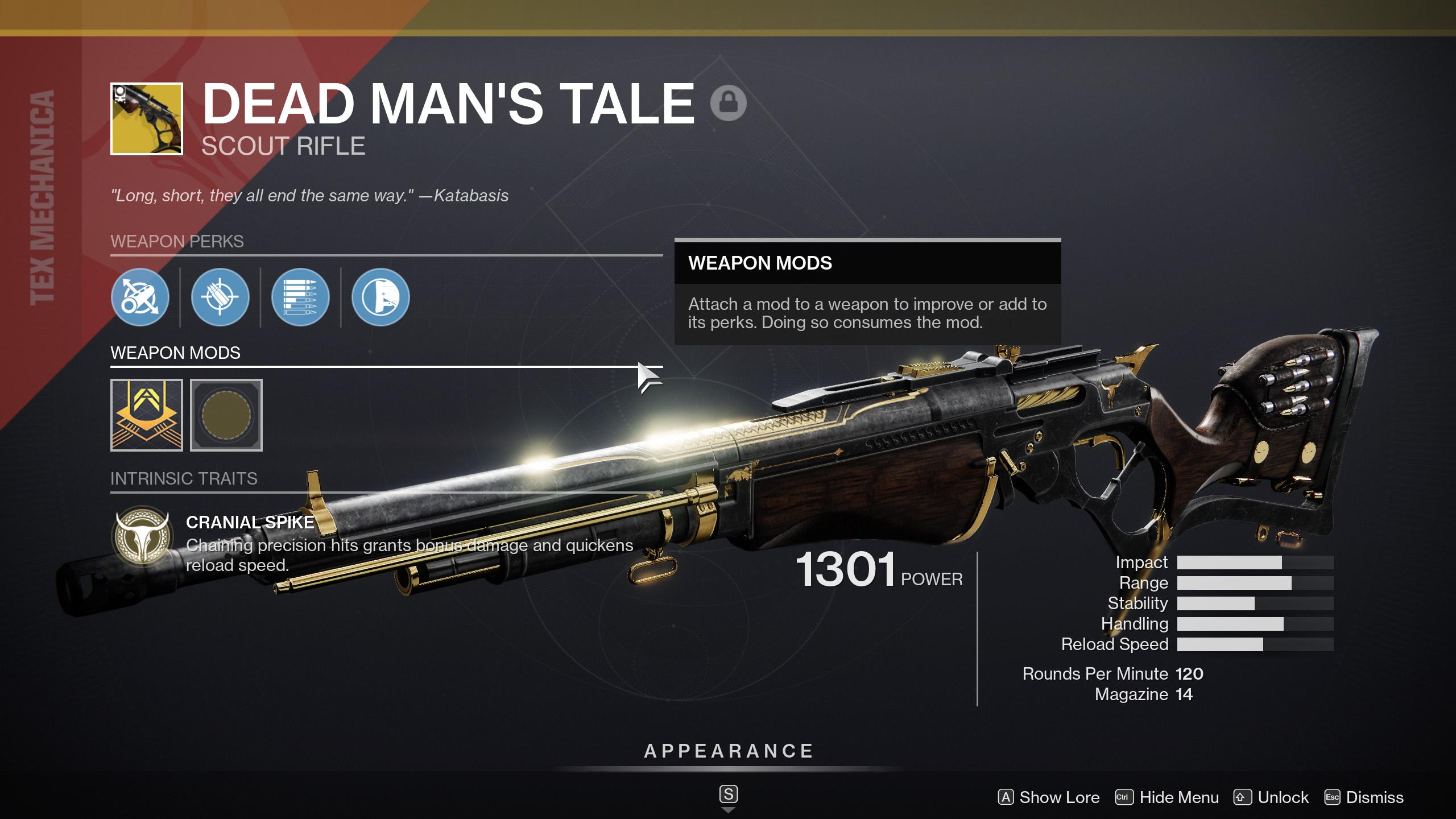 destiny 2 dead mans tale god roll options
