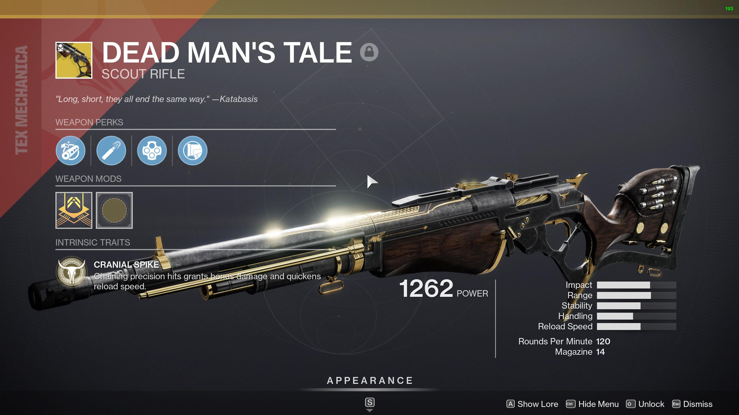 destiny 2 dead man's tale god roll