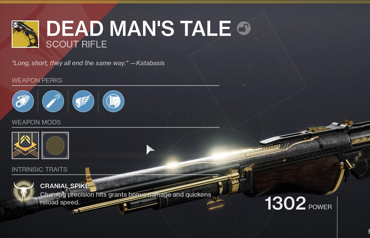 dead mans tale pvp god roll destiny 2