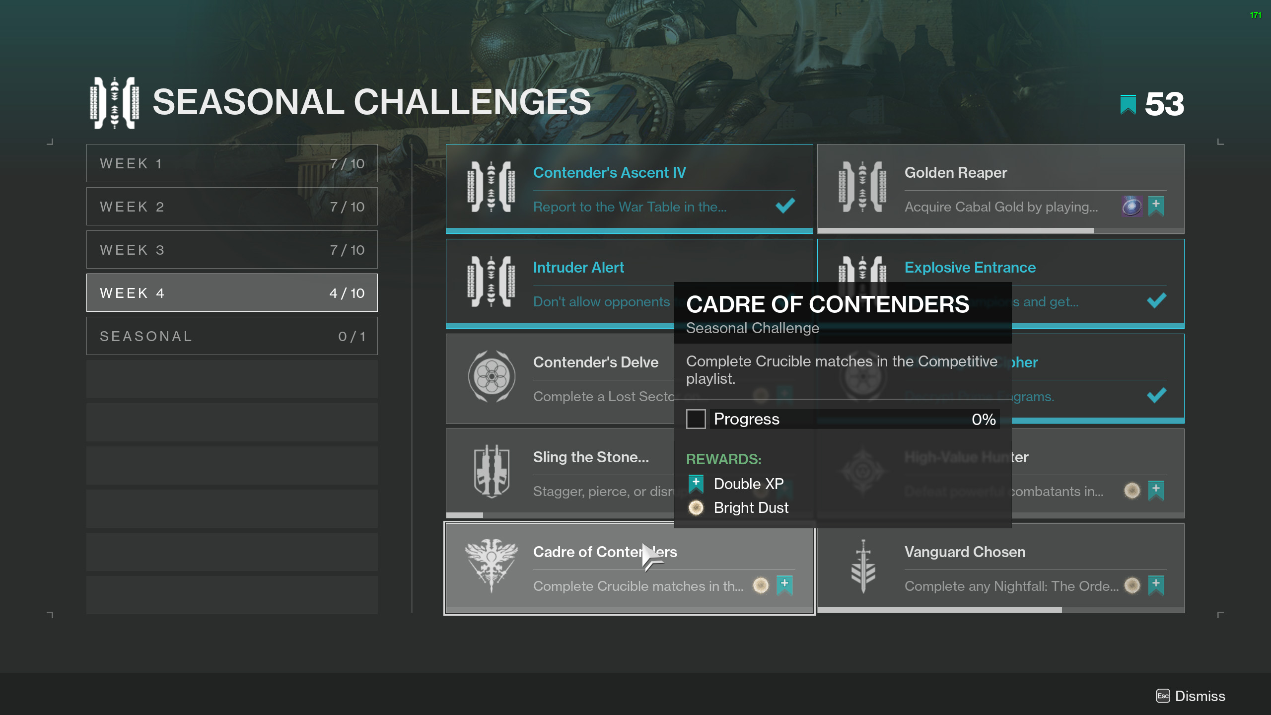 destiny 2 cadre of contenders seasonal challenge