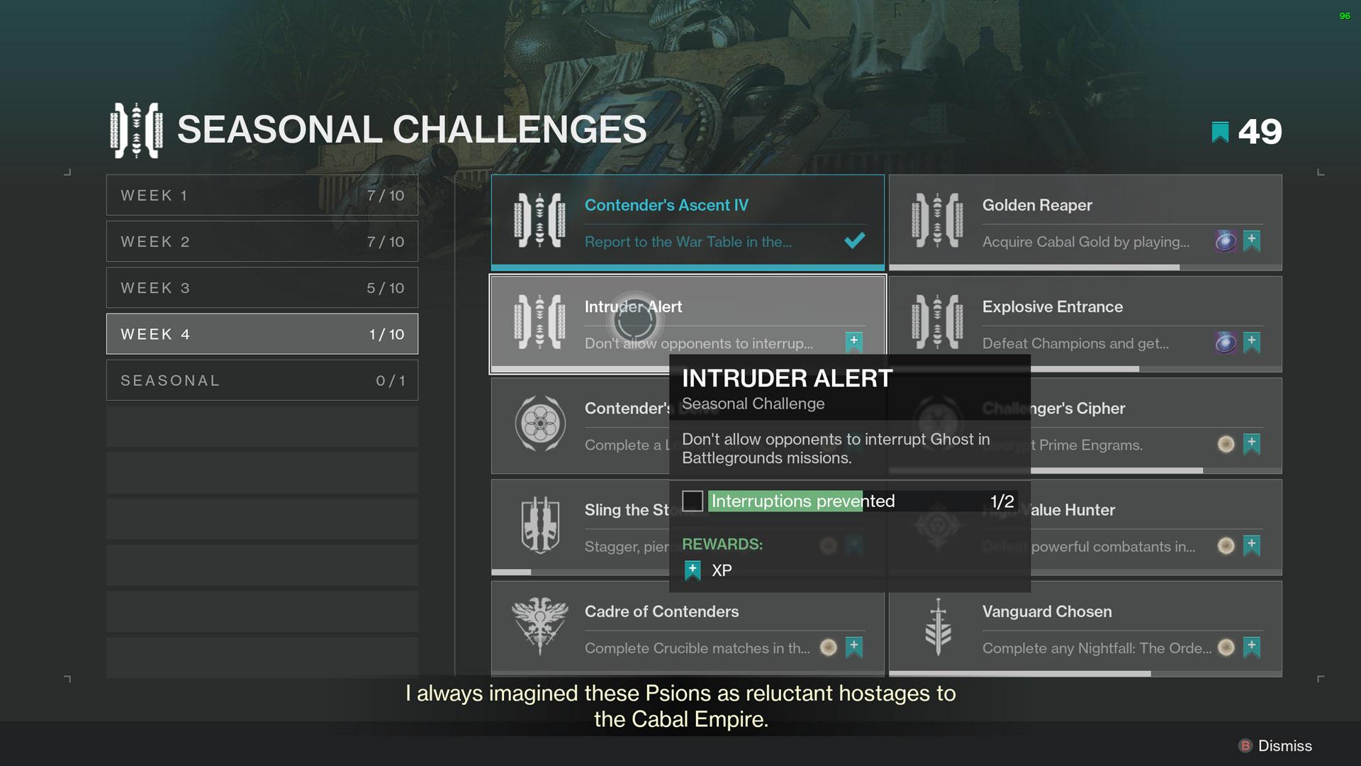 destiny 2 intruder alert seasonal challenge